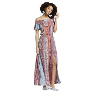 Xhilaration Off Shoulder Front Slit Maxi Dress